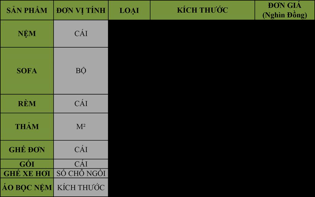 bảng báo giá dịch vụ giặt ghế sofa